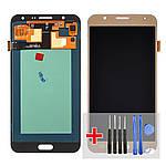 Дисплейний модуль (екран) для Samsung J700 Galaxy J7 з золотистим тачскріном OLED