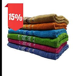 Полотенце 70х140  банное   махровое разные цвета в упаковке  узор «Пейзаж» оптом от 6шт