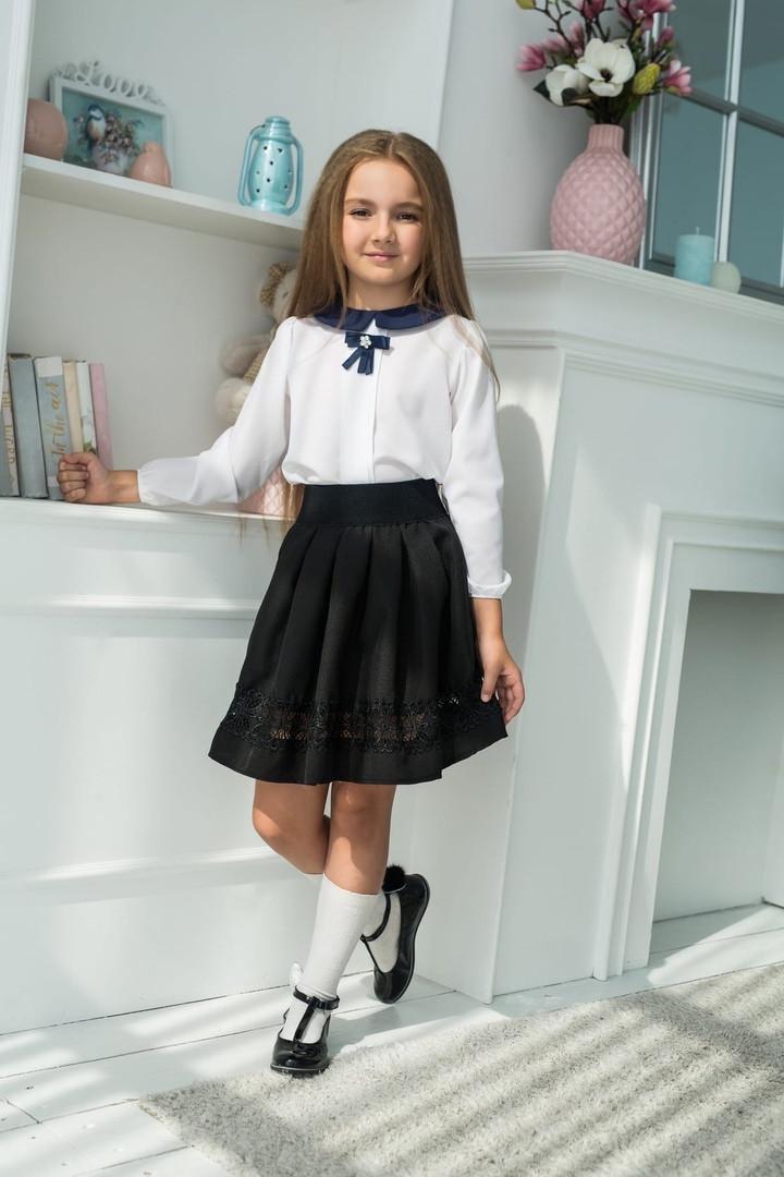 """Детская расклешенная школьная юбка """"Алена"""" с кружевом"""