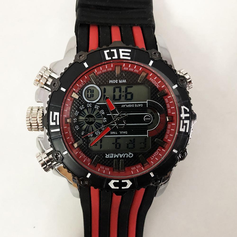 Часы наручные QUAMER, dual time, ремешок каучук. Цвет: красный