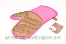 Рукавица с силиконовым покрытием (розовый хлопок, силикон)