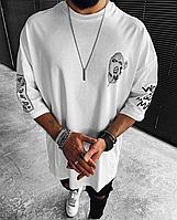 """Біла мжская оверсайз футболка з принтом WORLD GONE """"MAD!!""""   Туреччина   100% бавовна, фото 1"""