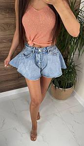 Стильные джинсовые шорты-юбка с необработанным краем 42-48 р