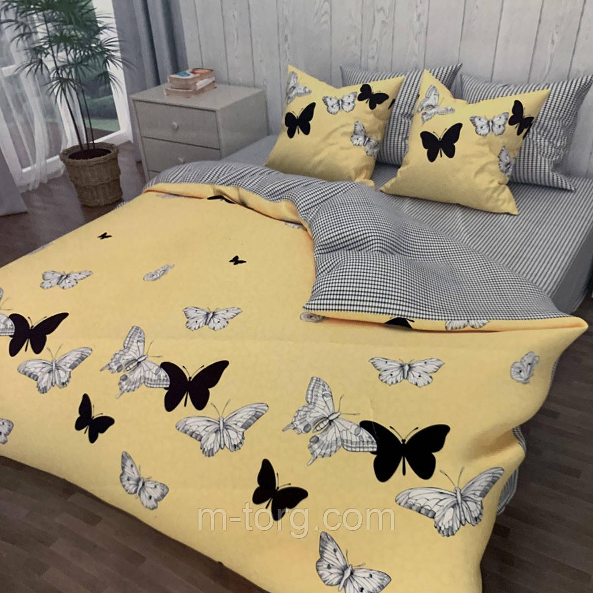 """""""метелики"""" комплект постільної білизни полуторний 150/210 см, нав-ки 70/70, тканина сатин, 100% складається з бавовни"""