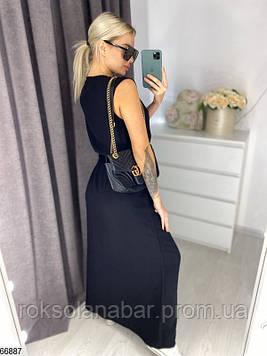 Чорне жіноче плаття максі з зав'язками