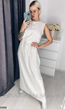 Молочне жіноче плаття максі з зав'язками