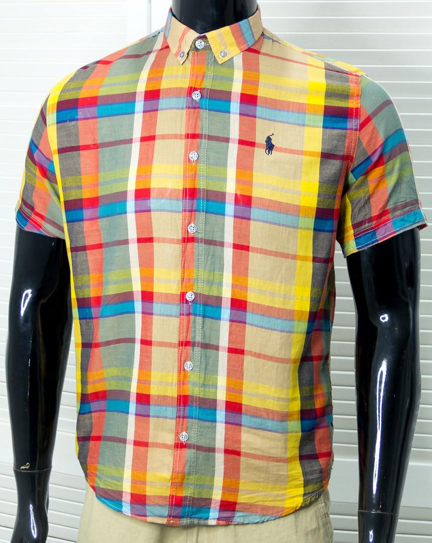 Рубашка мужская брендовая Polo Желтая Хлопковая к/р