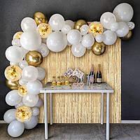 Гирлянда арка из воздушных шаров 65 шт белая с золотой фольгированной шторкой