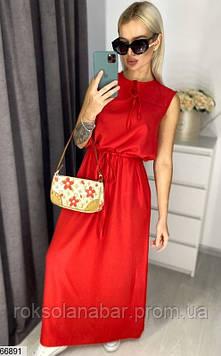 Червоне жіноче плаття максі з зав'язками