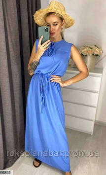 Блакитне жіноче плаття максі з зав'язками