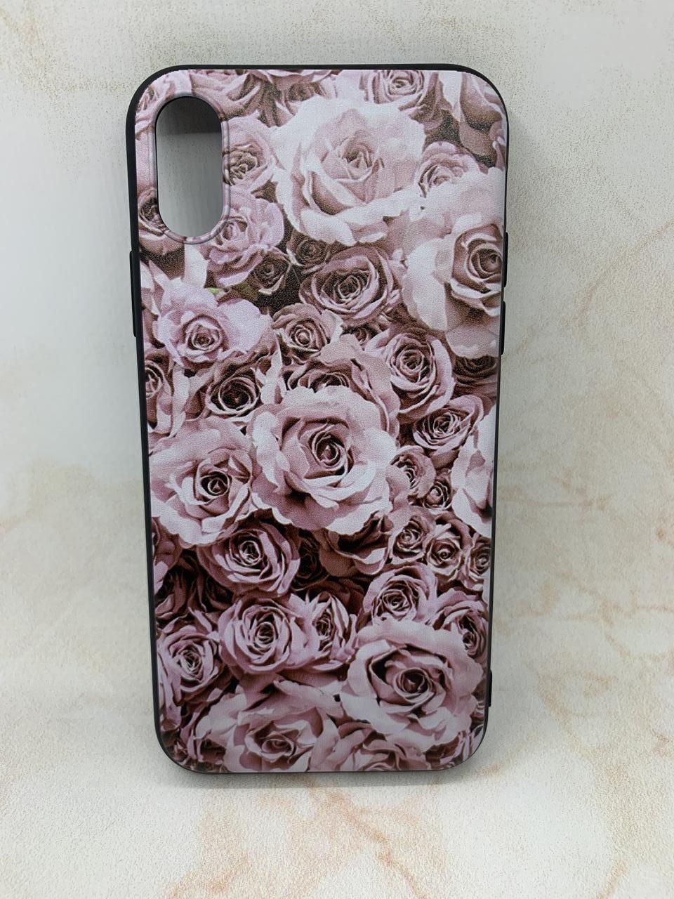 Чохол силіконовий для iPhone XS з квітковим принтом