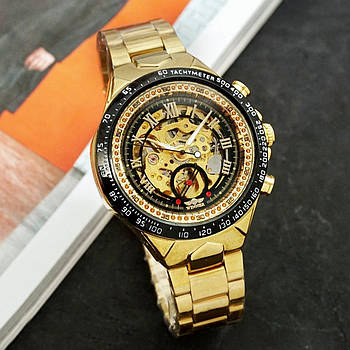 Часы наручные мужские Winner 8067 Gold-Black кварцевые оригинальные стальные с автоподзаводом