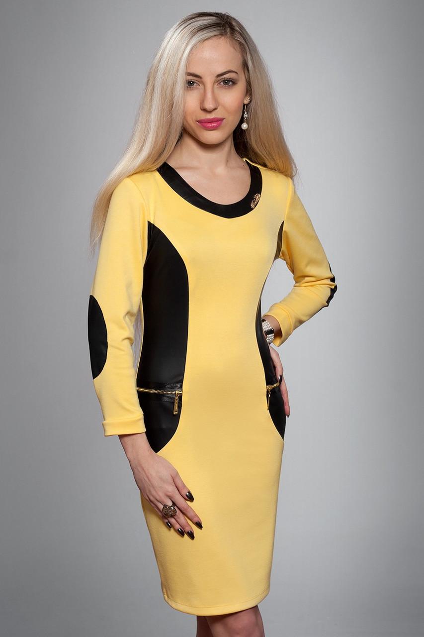 Платье женское модель №424-2, размеры 44-46 желтое