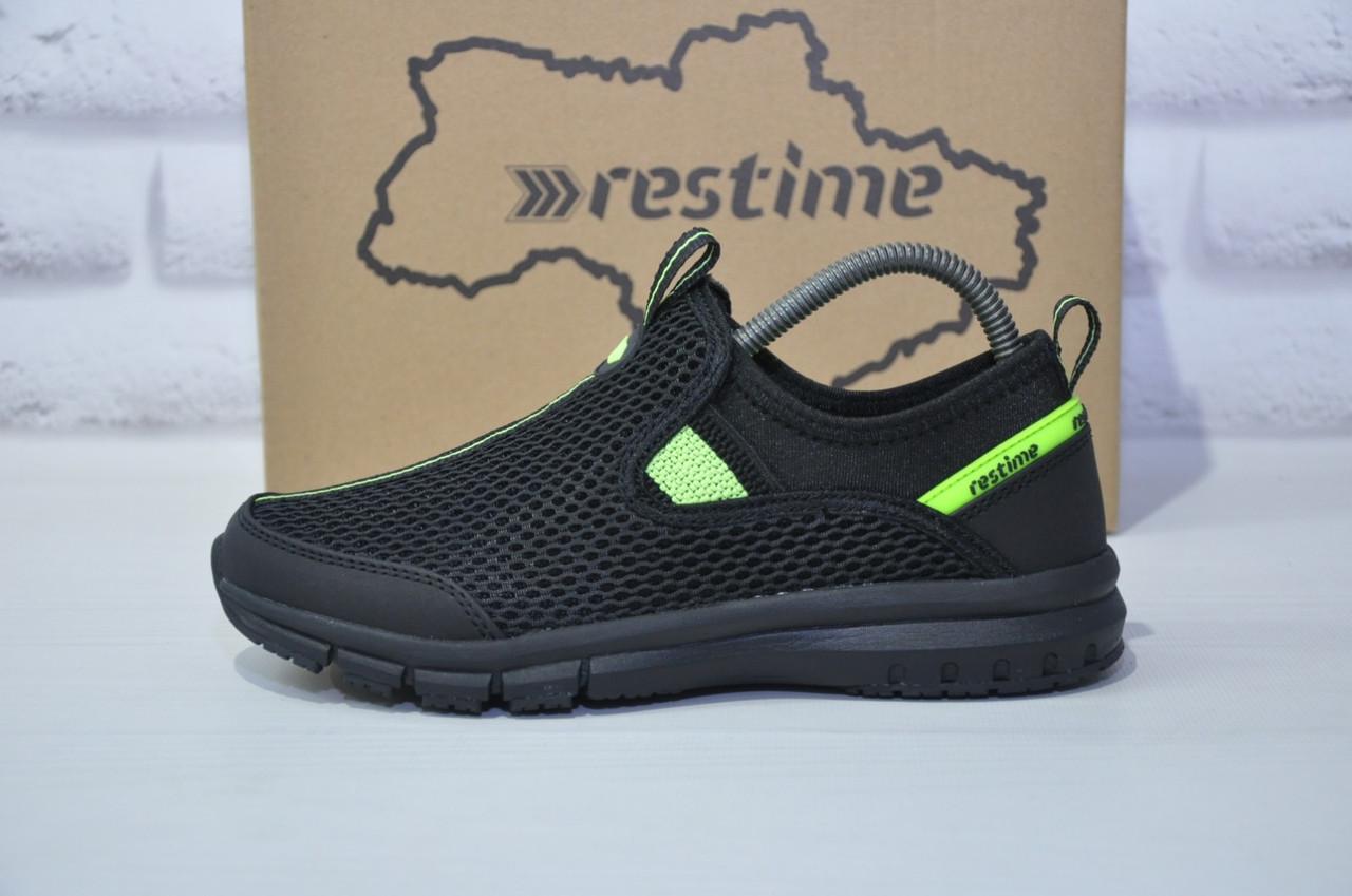 Підліткові дихаючі кросівки сітка чорні без шнурка Restime