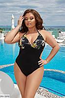 Злитий жіночий купальник з чашками великі розміри батал р-ри 48-58 арт. 01122