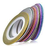 Цукрова нитка для нігтів в рулоні, веселка =1мм, фото 2