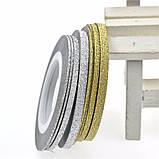 Цукрова нитка для нігтів в рулоні, золото =2мм, фото 3