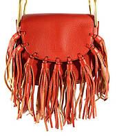 Брендовая кожаная сумочка Chloé красная через плечо