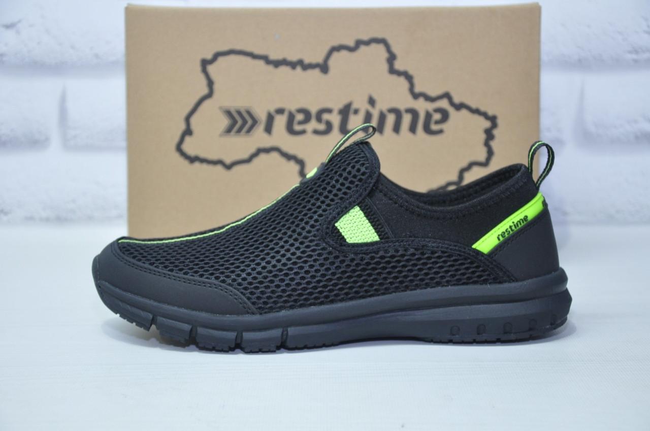 Мужские кроссовки сетка без шнурка черные Restime