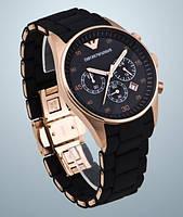 Часы Armani Emporio черные, коричневые