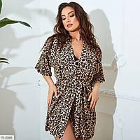 Пляжна леопардова туніка-парео жіноча коротка розміри 42-64 арт. 8401