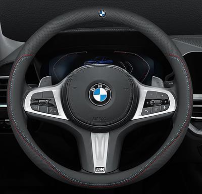 Чехол оплетка на руль Nappa Cool с логотипом натуральной кожи для автомобиля