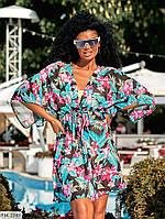 Легка пляжна туніка-парео жіноча коротка з принтом короткий рукав 42-48 арт. 547
