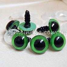 Глазки для игрушек  10 мм + крепление, зеленые (2 шт) УЦЕНКА