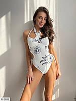 Злитий красивий жіночий купальний білий з принтом з відкритою спиною р-ри 42-46 арт. 1140