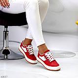 Жіночі кросівки червоні з білим еко шкіра преміум класу, фото 2