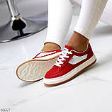 Жіночі кросівки червоні з білим еко шкіра преміум класу, фото 3