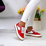 Жіночі кросівки червоні з білим еко шкіра преміум класу, фото 4