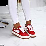 Жіночі кросівки червоні з білим еко шкіра преміум класу, фото 5