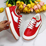 Жіночі кросівки червоні з білим еко шкіра преміум класу, фото 6