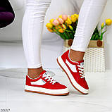 Жіночі кросівки червоні з білим еко шкіра преміум класу, фото 7