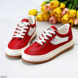 Жіночі кросівки червоні з білим еко шкіра преміум класу, фото 8