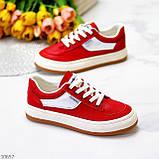 Жіночі кросівки червоні з білим еко шкіра преміум класу, фото 9