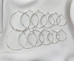 Сережки з Кільцями City-A Круглі Кільця Колір Срібний Набір Сережок з 12 шт