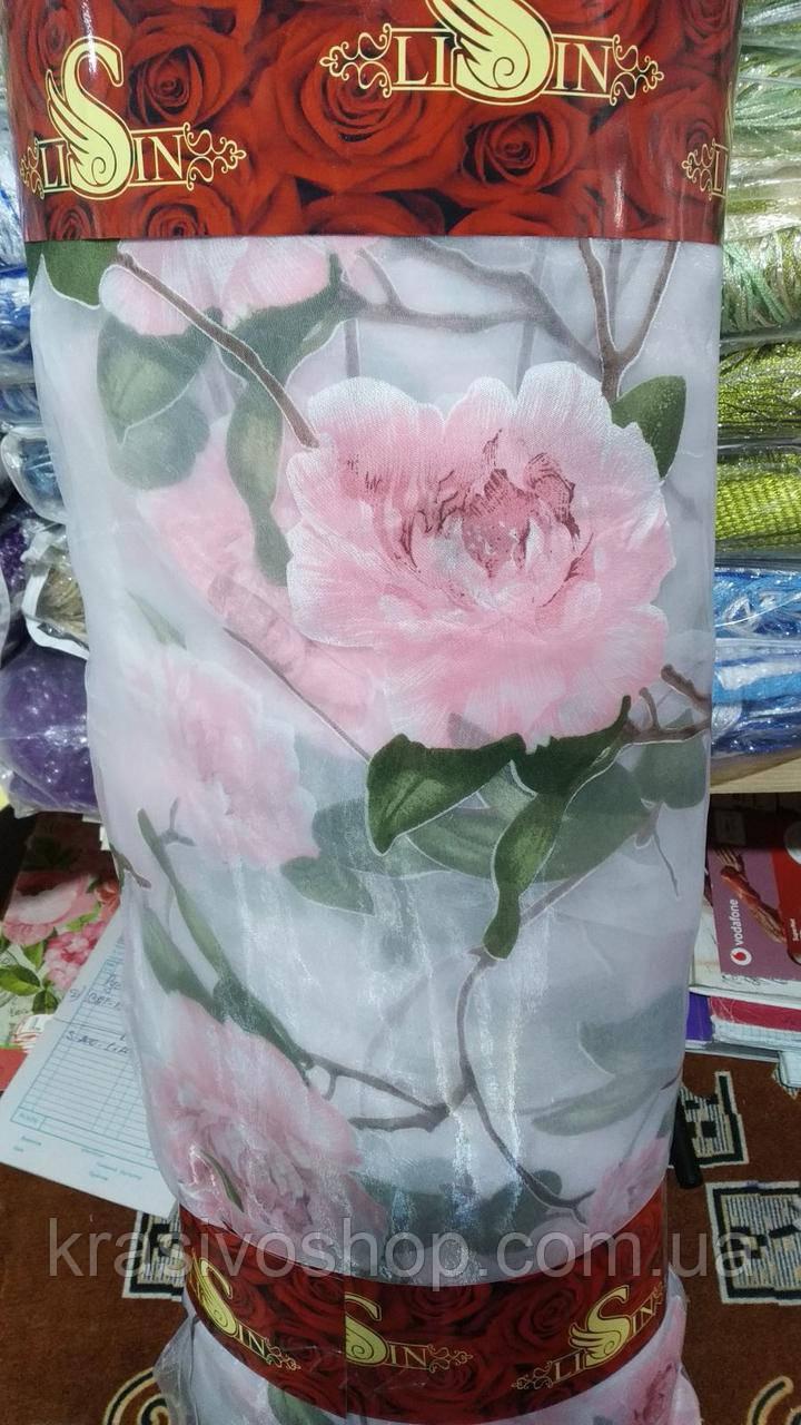 Ткань органза с рисунком, пион розовый, рулон