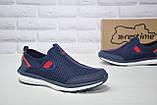 Чоловічі кросівки сітка без шнурка сині Restime, фото 2