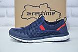 Чоловічі кросівки сітка без шнурка сині Restime, фото 4