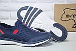 Чоловічі кросівки сітка без шнурка сині Restime, фото 5