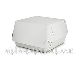 Упаковка гамбургер Maxi 130*130*80 белая, 100 шт/уп, 10 уп/ящ.