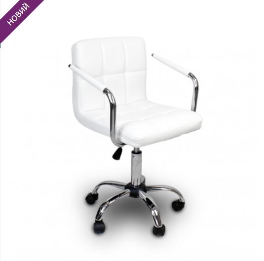 Стул-кресло для мастера ARM MASTER  барное на колёсах БЕЛОЕ ПОЛЬША