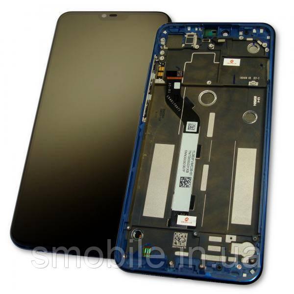 Дисплей Xiaomi Mi8 Lite с сенсором и рамкой синего цвета (оригинал 100%)