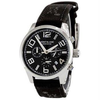 Часы мужские наручные кварцевые Montblanc TimeWalker Chronograph классические с кожаным PU ремешком