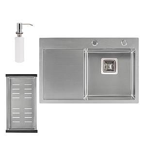 Набір 3 в 1 Qtap кухонна мийка DK6845R 3.0/1.2 мм Satin + сушарка + дозатор для миючого засобу