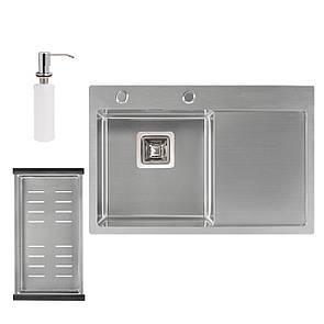 Набір 3 в 1 Qtap кухонна мийка DK6845L 3.0/1.2 мм Satin + сушарка + дозатор для миючого засобу