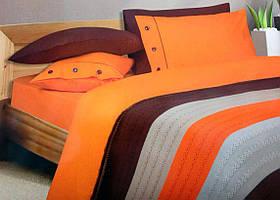 Постельное белье For you модель Oranj aci kahve(+вязанный плед)
