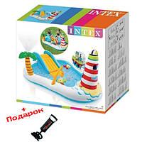 Детский надувной бассейн с горкой Intex 57444 - надувной игровой центр Веселая Рыбалка